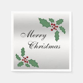 """Serviettes En Papier Houx et baies de Noël de """"Joyeux Noël"""""""