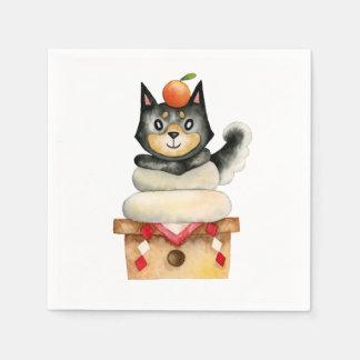 """Serviettes En Papier Illustration d'aquarelle de chien de """"Mochi Shiba"""""""