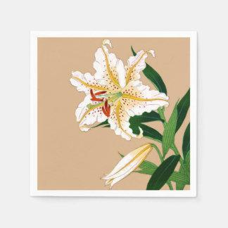 Serviettes En Papier Japonais vintage Liliy. Blanc, vert et beige