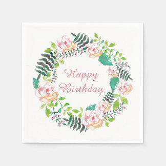 Serviettes En Papier Joyeux anniversaire de guirlande florale rose de