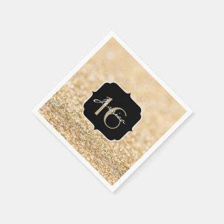 Serviettes En Papier Le beau scintillement d'or de champagne miroite le