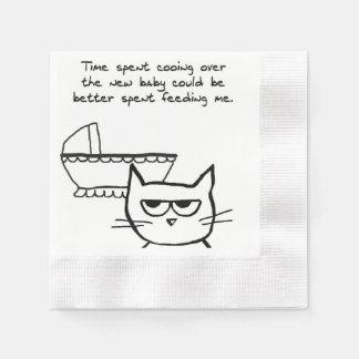Serviettes En Papier Le chat fâché est jaloux du bébé