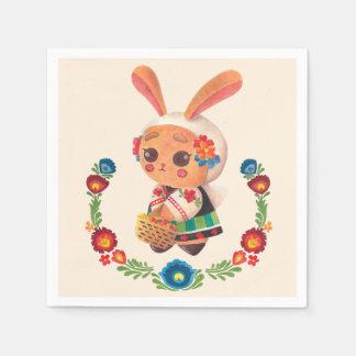 Serviettes En Papier Le lapin de polonais de fleur