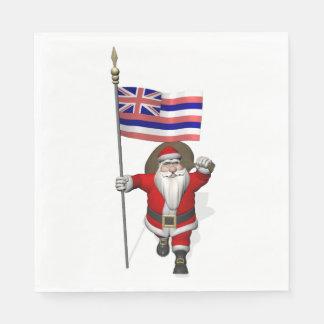 Serviettes En Papier Le père noël avec le drapeau d'Hawaï