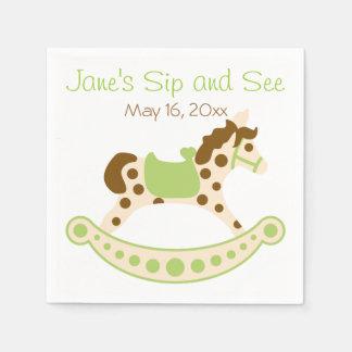 Serviettes En Papier Le Sip vert de bébé de cheval de basculage et