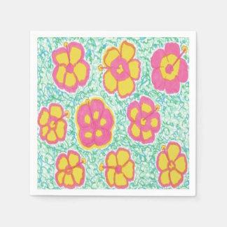 Serviettes En Papier Les ketmies roses et vertes impriment les