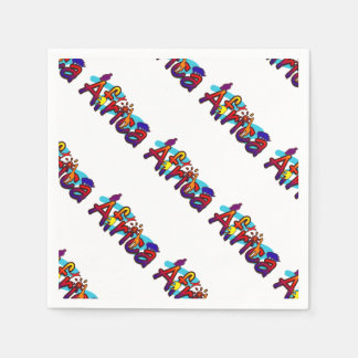Serviettes En Papier Logo coloré de safari d'amusement de l'Afrique
