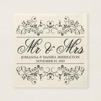 Serviettes En Papier M. ornemental vintage et Mme Wedding de décor de