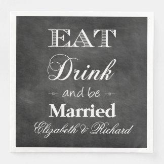 Serviettes En Papier Mangez, boisson et soyez mariage marié de tableau