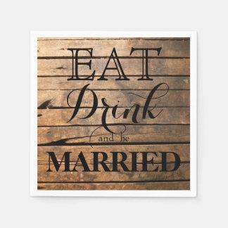 Serviettes En Papier Mangez la boisson et soyez marié