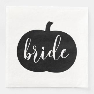 Serviettes En Papier Mariage de automne noir et blanc de jeune mariée