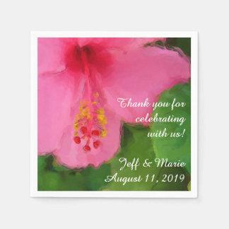 Serviettes En Papier Mariage de plage rose de fleur de ketmie