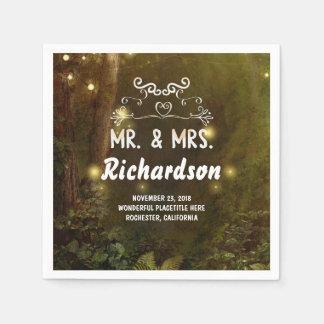 Serviettes En Papier Mariage enchanté moderne et romantique de forêt