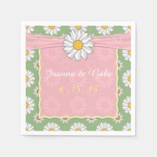 Serviettes En Papier Mariage floral de marguerite verte blanche rose