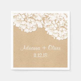 Serviettes En Papier Mariage floral d'hortensias rustiques
