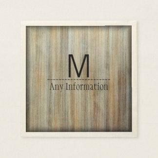 Serviettes En Papier Monogramme en bois #2 de texture de grain