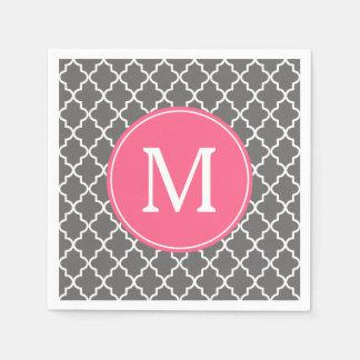 Serviettes En Papier Monogramme gris et rose de coutume de Quatrefoil