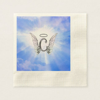 Serviettes En Papier Monogramme initial C avec des ailes d'ange, nuages