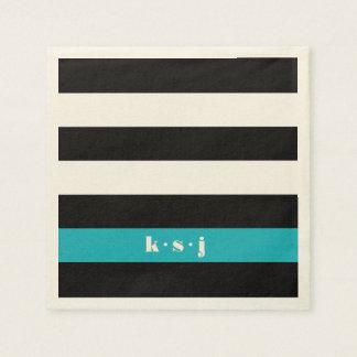 Serviettes En Papier Monogramme moderne de rayure de noir, de crème et