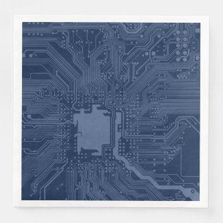 Serviettes En Papier Motif bleu de circuit de carte mère de geek