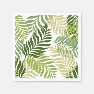 Serviettes En Papier Motif botanique de feuille de fougère sur le blanc