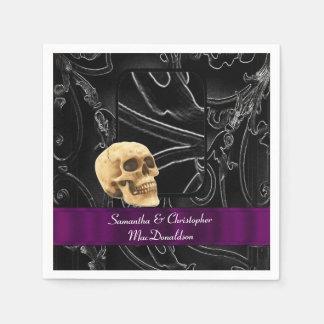 Serviettes En Papier Motif gothique noir de damassé de mariage de crâne