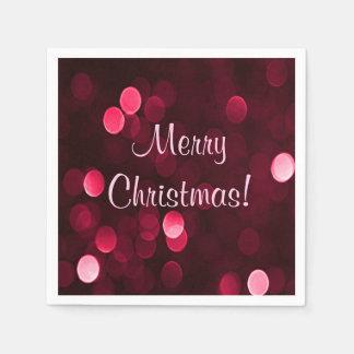 Serviettes En Papier Noël rouge brillant de Bokeh de lumières de Noël