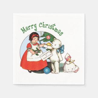 Serviettes En Papier Noël vintage d'ours de nounours