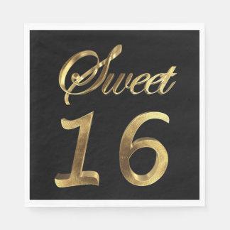 Serviettes En Papier Noir du bonbon 16 et typographie de regard d'or