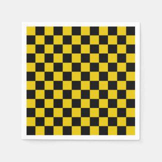 Serviettes En Papier Or Checkered et noir