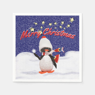 Serviettes En Papier Paradis adorable de Noël d'ornement de pingouin