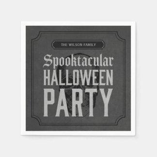 Serviettes En Papier Partie grise de Spooktacular Halloween de crâne