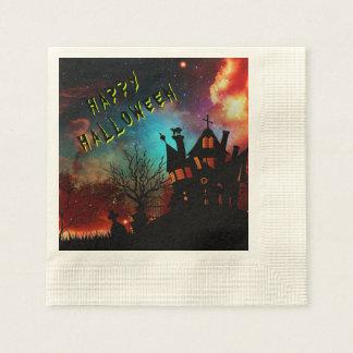 Serviettes En Papier Partie hantée par Halloween heureuse de Chambre