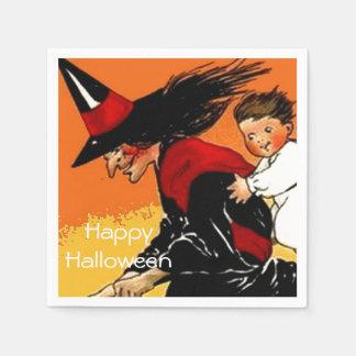 Serviettes En Papier Partie vintage de Halloween d'enfant de sorcière