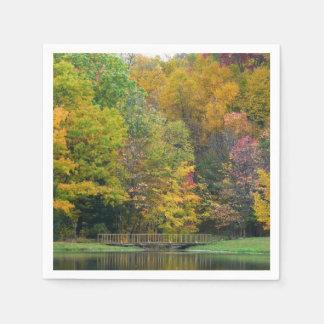 Serviettes En Papier Paysage d'automne du pont II d'automne de sept