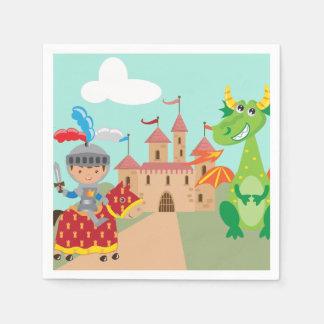 Serviettes En Papier Petits château et dragon de chevalier