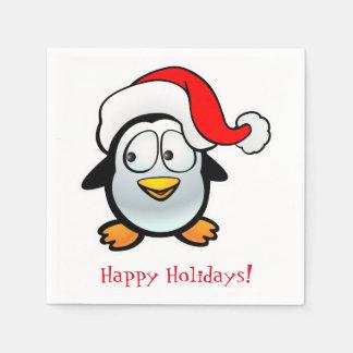 Serviettes En Papier Pingouin customisé avec le casquette de Père Noël