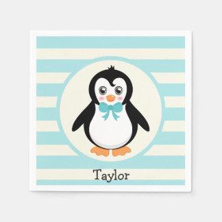 Serviettes En Papier Pingouin mignon avec la turquoise Bowtie