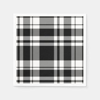 Serviettes En Papier Plaid noir et blanc