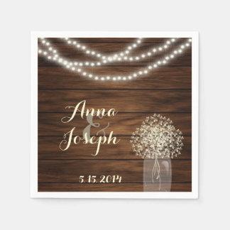 Serviettes En Papier Pot et lumières de maçon épousant la serviette