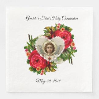 Serviettes En Papier Première croix de Jésus de roses rouges de sainte