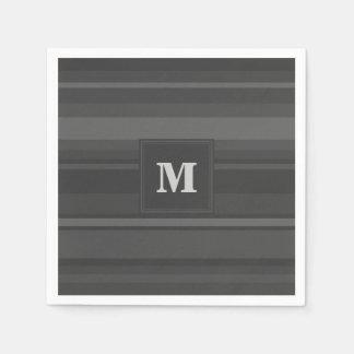 Serviettes En Papier Rayures de charbon de bois de monogramme