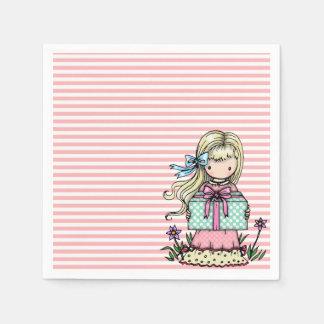 Serviettes En Papier Rayures mignonnes de rose de fête d'anniversaire