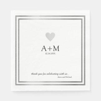 Serviettes En Papier réception de la célébration B/W de mariage de