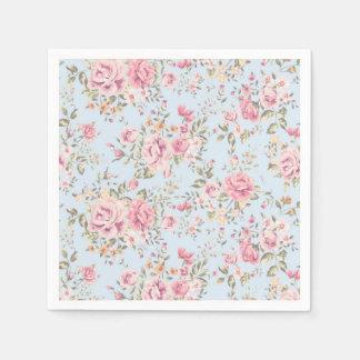 Serviettes En Papier Rose et serviettes chics minables florales bleues