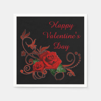 Serviettes En Papier Roses rouges de Saint-Valentin rouges et