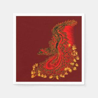 Serviettes En Papier Rouge de dragon de la Chine et conception d'or