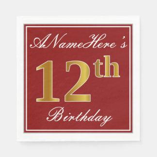 Serviettes En Papier Rouge élégant, anniversaire d'or de Faux 12ème +