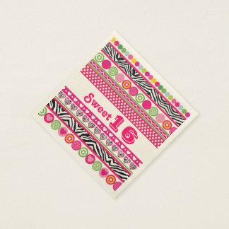 Serviettes En Papier Serviette abstraite colorée du bonbon 16 à coeurs