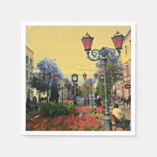 Serviettes En Papier Serviette de papier colorée de paysage urbain